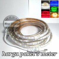 Lampu selang led strip 5 meter 220 volt smd 5050 tinggal pakai colok - Putih