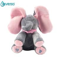 Mainan Boneka Plush Gajah Dapat Bermain Cilukba Bernyanyi Ukuran 12