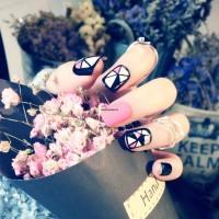 YT-037 Pink Mozaic Nail Art Kuku Palsu Cantik Aksesoris Wanita Fashion