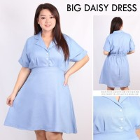 Dress Big Daisy Denim Baju Wanita Bigsize Jumbo
