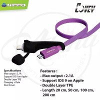 Hippo Covey 2 in 1 LED Data Kabel Charger Micro Lightning USB Cable 1m