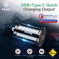 Baseus Car Charger Adapter 30W Fast Charge QC 4.0 PD 3.0 Original