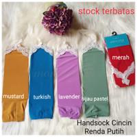 Handsock manset tangan + Amtaza + Cincin Renda putih + Bagus