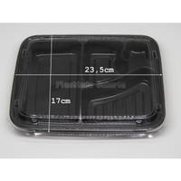 (per pack) Bento Lunch Box Tempat Makan Bento 4 Sekat Tutup Mika