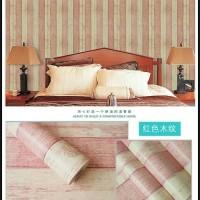 Wallpaper Sticker Dinding kayu rustik garis pink 10 M