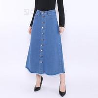 Rok Jeans Panjang Rumbai - Hitam, 28