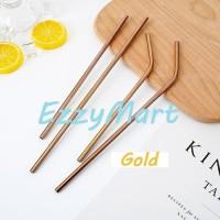 SEDOTAN STAINLESS STEEL LURUS & BENGKOK STRAW METAL GOLD