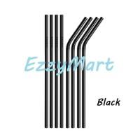 SEDOTAN STAINLESS STEEL LURUS & BENGKOK STRAW METAL BLACK