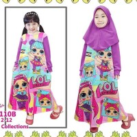 Little pineapple gamis dress hijab anak LOL talita 4-9Y