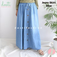 Rok Jeans Skirt Wanita Panjang Jumbo Big Size Kancing Button Import