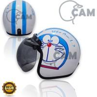 Helm Motor SNI Retro Bogo doraemon face white + kaca bogo original