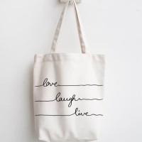 totebag love laugh live tas belanja lipat tas blacu kanvas recycle