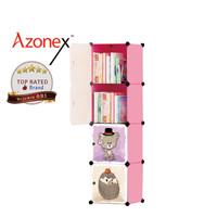Rak Serbaguna Rak Mainan Anak Rak Buku Lemari Portable Kartun 4 Pintu