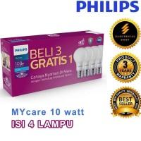 PAKET LAMPU PHILIPS LED BULB MYCARE 10 WATT ISI 4 PCS PUTIH