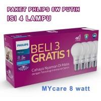 PAKET LAMPU PHILIPS LED BULB MYCARE 8 WATT ISI 4 PCS PUTIH