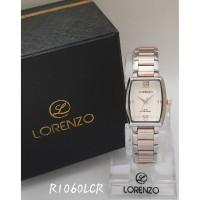 jam tangan LORENZO ORIGINAL WANITA COMBI ROSE GOLD BLACK RANTAI