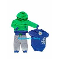 Carterlove Set Boy 3in1 (jaket jumper dan celana panjang) Hijau