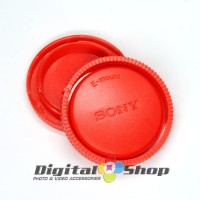 Rear Lens Cap + Camera Front Body Cap for Sony E-Mount - Red