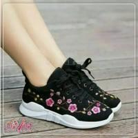 Sepatu wanita kets sneakers bordir gliter