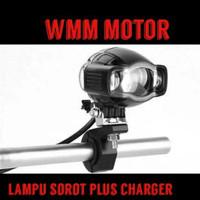 Lampu sorot tembak plus charger-casan hp