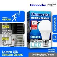 Hannochs Lampu LED Motion Sensor Gerak 9 watt Putih BULB BOHLAM 9W