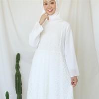 Gamis Brukat Impor Putih / Baju Muslim / Dress Muslim Putih #9608
