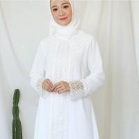 Baju Gamis Brukat Putih / Baju Muslim / Dress Muslim Putih #9999 - Putih Tulang, L