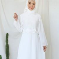 Gamis Brukat Impor Putih / Baju Muslim / Dress Muslim Putih #9472