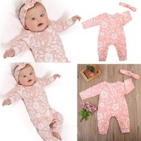 Newborn Baby Girls Floral Romper Bodysuit Jumpsuit with Headband Outfi