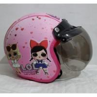 helm bogo anak SNI karakter LOL warna pink