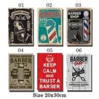 Poster Barber Shop Vintage Bingkai Kayu 2030 01