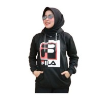 JAKET WANITA Jaket hoodie switer fila cewek wanita logo bordir hitam