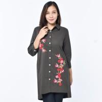 SEYES V7716 Tumblr Kemeja Tunik Cewe Cotton Baju Wanita Dark Grey