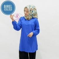 Blus muslim polos tunik baju atasan wanita /SIZE M,L,XL BIRU BCA