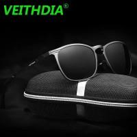 Kacamata sunglass Retro original polarized VEITHDIA 6630 pria wanita