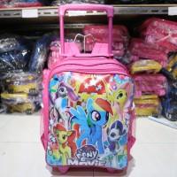 Tas Troli Anak Cewek Dorong Besar Motif Pony Pink Lucu Kece Tebal Kuat
