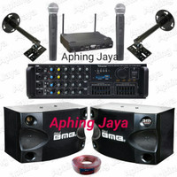 Paket Karaoke Sound System Speaker BMB 8inch + Amplifier Weston + 2Mic