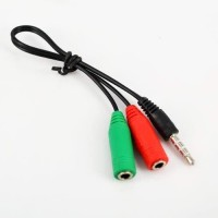 Kabel audio Aux 3.5mm Splitter 1 male to 2 female Red Green