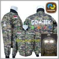 Jaket Gojek Bomber Army Logo Bordir Waterproof - Army, L