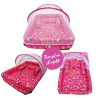 kasur bayi set kelambu bantal guling model kolam lebah pink