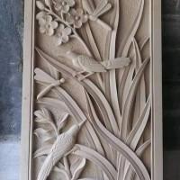 relief tumbuhan 2 burung ornamen patung lampion pilar hiasan dinding