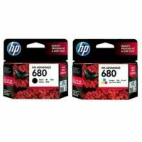 paket tinta HP 680 black+colour(2pcs) original ink cartridge - Biru