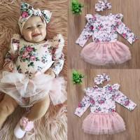 Setelan Baju Bayi Anak Bunga Cantik/Baby Floral Lace Tutu Romper