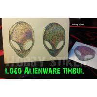 stiker alienware logo hologram untuk laptop komputer