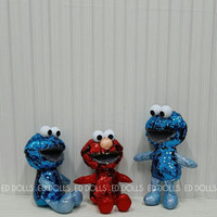 BONEKA SESAME STREET COOKIES COOKIE MONSTER ELMO SEQUIN