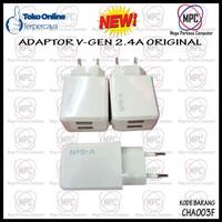 Adaptor Charger Handphone V-GEN Travel Max 2.4A 2 Port 1Pcs Original