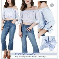 BBJ06649 F21 Baby Blue Striped Cotton Bow Tie Sabrina Top Blouse