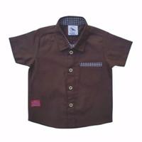 Kemeja Hem Baju Anak Bayi 0-5 tahun coklat tua brown distro