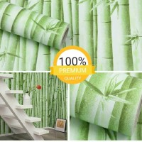 Grosir Termurah Wallpaper Sticker Dinding bambu motif daun 10 M