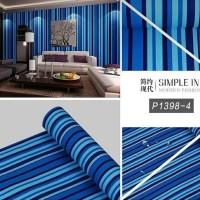 Grosir Termurah Wallpaper Sticker Dinding Garis salur biru hitam 10 M